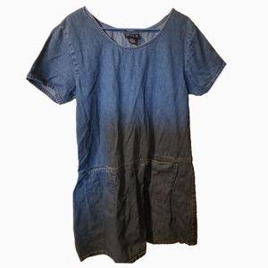 Blue J denim shortsleeve shirt dress large pockets